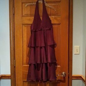 Wine colored tiered cocktail dress